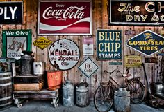 These old signs are very vintage and old and are some signs that could have hung in America a long time ago Vintage Signs, Retro Vintage, Vintage Modern, Deco Restaurant, Old Garage, Garage Cafe, Old Signs, General Store, Metal Signs