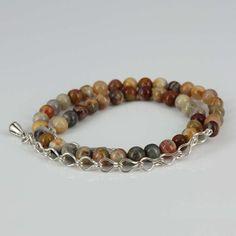 MANSONDAVID Natural 6mm Agate 2-layer Beaded Bracelet 925 Silver Chain Bracelet  #MANSONDAVID #BeadedBracelet