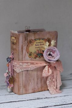 Shabby chic Baby Photo Album Custom Baby by LotusBluBookArt Baby Girl Photo Album, Baby Girl Photos, Baby Album, Old Book Crafts, Baby Records, Shabby Chic Baby, Shabby Chic Interiors, Baby Scrapbook, Graphic 45