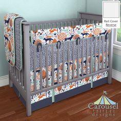 Crib Bedding In Navy Woodland Leaf And Orange Animals Solid Mint