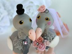 Love bird DODO cake topper with banner bride and by PerlillaPets