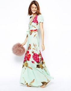 ASOS | ASOS Wrap Maxi Dress in Rose Print at ASOS