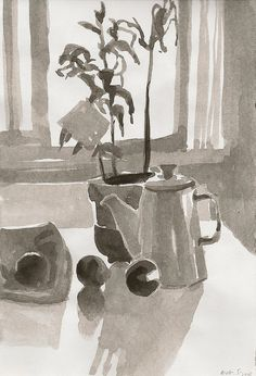 on the kitchen table-sketchbook watercolor- by annamariapotamiti, via Flickr