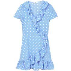 Polka-Dot Ruffled Dress (€35) ❤ liked on Polyvore featuring dresses, ruffle dress, blue polka dot dress, wrap dress, polka dot wrap dress and surplice dresses