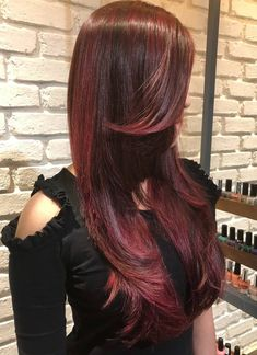 Red Highlights, Gorgeous Hair, Beautiful, Hair Beauty, Long Hair Styles, Awesome Hair, Long Hair Hairdos, Long Haircuts