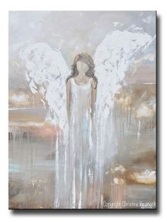 ORIGINAL Abstract Angel Painting Fine Art Contemporary Guardian Angel Neutral Home Wall Art X Large 30x40""
