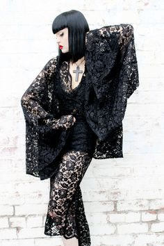 Image of ADELE PSYCH 'Diviner' Gothic Sheer Black Lace Top