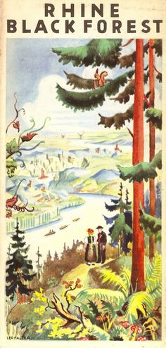 German Railways Guide - Rhine & Black Forest, Germany, illustrated by Leo Faller, 1936
