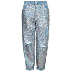 MOTO Sequin Boyfriend Jeans - Topshop ❤ liked on Polyvore featuring jeans, boyfriend fit jeans, boyfriend jeans, topshop, sequin jeans and blue jeans