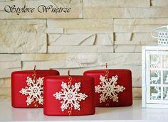 Świąteczna Czerwona Świeca Płatek Śniegu 2