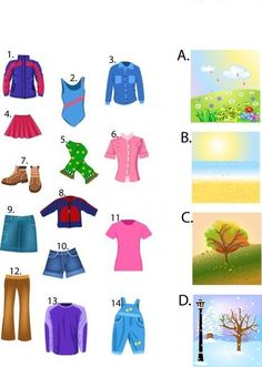 The Seasons And Clothes preschool printable worksheets Free Printable Worksheets, Worksheets For Kids, Therapy Activities, Preschool Activities, Clothes Worksheet, Seasons Worksheets, Clothing Themes, Kids Clothing, Weather Unit