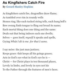 Gerard Manley Hopkins. This is my all-time favorite poem.