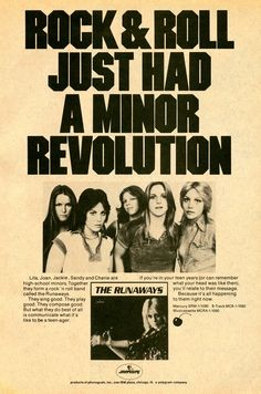 Joan Jett The Runaways Ladies Cherie Currie Lita Ford Sandy West Jackie Fox Band Posters, Cool Posters, Music Posters, Pop Punk, Rock And Roll, Sandy West, Cherie Currie, Arte Punk, Riot Grrrl