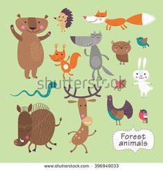 Cute forest animals on a green background. Childish vector illustration of fox, deer, wolf, bear, birds, owl, squirrel, snake, boar, hare and hedgehog.