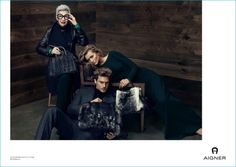 Jason Morgan, Toni Garrn and Iris Apfel photographed by Terry Tsiolis for Aigner's fall-winter 2016 campaign.