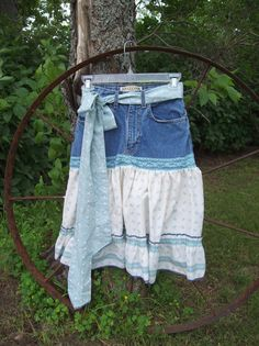 Blue Upcycled Girls Denim Skirt