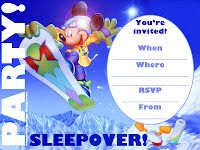 Super cool snowboarding sleepover party invitation that features Mickey Mouse.  If you're a snow bunny and love snowboarding too, perhaps yo...