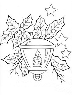 Lantern and holly leaves