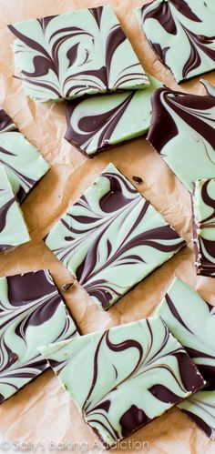 Easy Mint Chocolate Swirl Bark-- tastes like a giant Andes mint!!