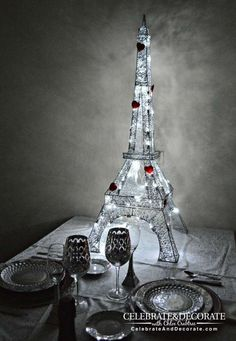 Eiffel Tower French Valentine's Day party decor! See more party planning ideas at CatchMyParty.com!
