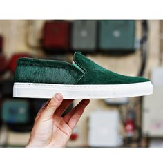 Axel Arigato green pony hair slip-on. #axelarigato #slipons #skaters