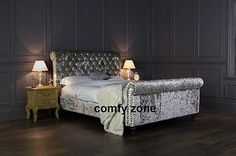 CRUSHED VELVET BED FRAME - DOUBLE 4ft6 BEDSTEAD - GREY VELVET - BLACK VELVET