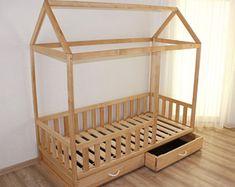 Toddler bed from birch ,nursery crib, children bed, Montessori bed, kid bed, wood bed, children home, waldorf toy, kids bedroom, floor bed