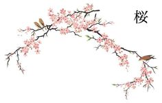 25 Ideas Simple Tree Branch Tattoo Wall Art For 2019 Cherry Blossom Drawing, Pink Blossom, Blossom Trees, Cherry Blossoms, Blossom Flower, Japanese Blossom, Japanese Art, Japanese Screen, Traditional Japanese