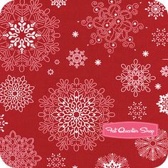 Winter Essentials White on Red Falling Snowflakes Yardage SKU# 2037-88
