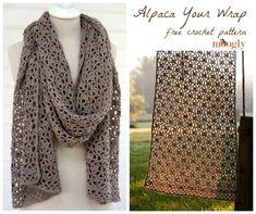 Alpaca Seu Wrap - padrão #crochet livre no Moogly!