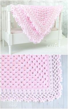 Baby Blanket Crochet Patterns With Beautiful Edging - Baby Crochet - Baby Knits Crochet Blanket Edging, Crochet Baby Blanket Free Pattern, Crochet Borders, Crocheted Baby Blankets, Crochet Edgings, Crochet Edges For Blankets, Crochet Edging Patterns Free, Crochet Afghans, Crochet Motif