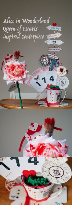 Alice in Wonderland Queen of Hearts inspired centerpiece or our case, gymnastics number, tutorial. There is a tutorial for the Mad Hatter tea party inspired cup, the rose and other little bits. Great for birthday parties, any parties really, and also weddings. I mean, I'd love an Alice theme wedding :D