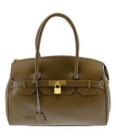 Loving this Taupe Embossed Lock-Accent Leather Satchel on #zulily! #zulilyfinds