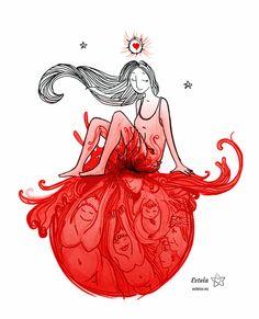 """Menarquia. La primera luna. Todas las que son, eran y serán te dan la bienvenida. Lápiz, acuarela, rotulador pincel negro, rotulador rojo, corrección color digital. Esta ilustración la hice para mi querida """"hermanita"""" Nazaret inspirada por el relato de su menarquía que se puede leer aquí: http://www.airesdecambio.com/nazaret-laso-mi-primera-menstruacion/  Nazaret está presente en la web y tienda online aquí: http://nazaretalmundo.blogspot.com.es/ y aquí http://tierrasabia.es/"""