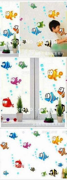 QZ337 Free Shipping 2Pcs Cute Cartoon Fish Underwater Waterproof Removable PVC Wall Stickers Home Decoration Gift $8.98