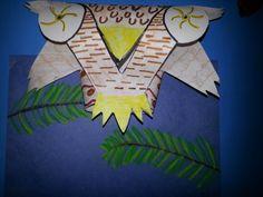 owl on branch - paper sculpture on chalk pastel branch