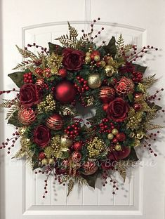 Christmas Wreath, Winter Wreath, Elegant Christmas, Holiday Wreath, Evergreen Wreath, Red and Gold Wreath, Holiday Decor, Christmas Decor by CharmingBarnBoutique on Etsy https://www.etsy.com/listing/557487960/christmas-wreath-winter-wreath-elegant