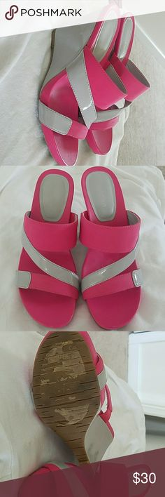 Calvin klein Grey patent and pink stretch fabric wedge. Heel is grey  patent.  Super cute and comfortable. Just never wear them.  Worn once sticker worn off bottom. Calvin Klein Shoes Wedges