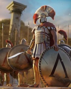 This is a new artwork I created for my upcoming short film project set in ancient Greece - Heroes of Bronze. Ancient Sparta, Ancient Rome, Ancient Greece, Fantasy Armor, Medieval Fantasy, Greek History, Ancient History, Greek Soldier, Roman Warriors