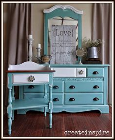 {createinspire}: Dresser Redo in Drizzle Blue Painted Furniture, Chalky Paint, Love Always, Furniture Projects, Dresser, Create Yourself, Night Stand, Cabinet, Storage