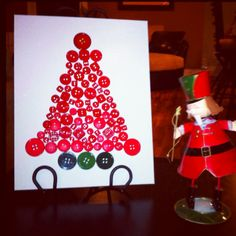 Button Christmas Tree on canvas panel