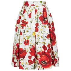 Dolce & Gabbana Floral Midi Skirt (£775) ❤ liked on Polyvore featuring skirts, bottoms, gonne, floral knee length skirt, daisy print skirt, summer skirts, floral print skirt and midi skirt