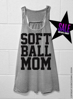 Softball Mom - Gray Flowy Racerback Tank #mothersday #present #gifts #etsy #ideas
