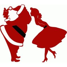 Silhouette Design Store - View Design #52890: mommy kissing santa claus silhouette
