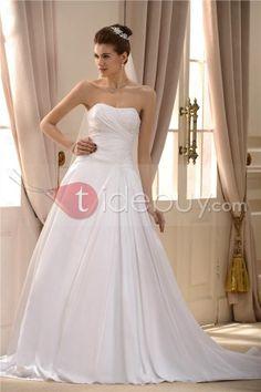 簡潔なストラップレスAライン広りシースラインストライン熱い販売アップリケ花嫁ウェディングドレス