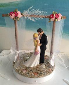 Pergola Beach Wedding Cake Topper~Bride and Groom on a Beach Cake Topper Beach Cake Topper, Beach Wedding Cake Toppers, Wedding Topper, Wedding Cakes, Seashell Cake, Beach Cakes, White Tulle, October Wedding, Our Wedding