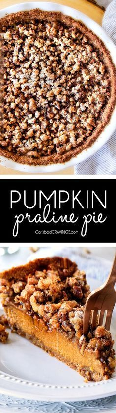 I will never go back to just Pumpkin Pie again! This Pumpkin PRALINE Pie is a Thanksgiving and Christmas must! Creamy pumpkin pie topped with crunchy, chewy brown sugar pecans for the perfect flavor and texture combination in every bite! #pumpkinpie #pecanpie #thanksgivingpie