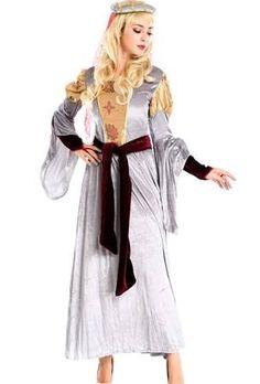 White Royal Ladies Medieval Halloween Princess Costume