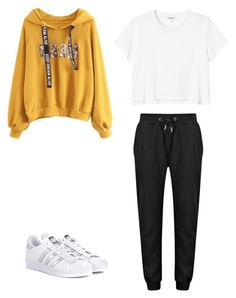 """BtS GoGo inspired outfits"" by paolacherrera on Polyvore featuring Monki and adidas Originals"