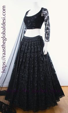black lehenga online Give yourself a versatile look by wearing this georgette lehenga choli featuring lucknowi work lehenga and hand work blouse Indian Fashion Dresses, Party Wear Indian Dresses, Designer Party Wear Dresses, Indian Bridal Outfits, Indian Gowns Dresses, Party Wear Lehenga, Dress Indian Style, Indian Designer Outfits, Indian Wear